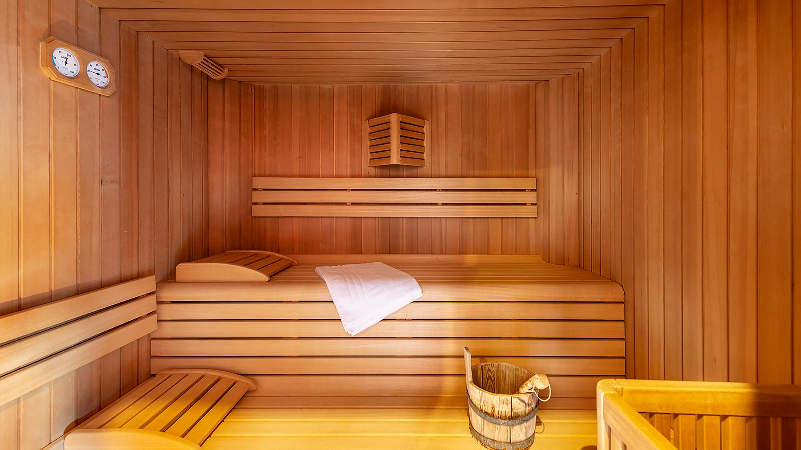 Detail of the Finnish sauna at the wellness area in Andalo