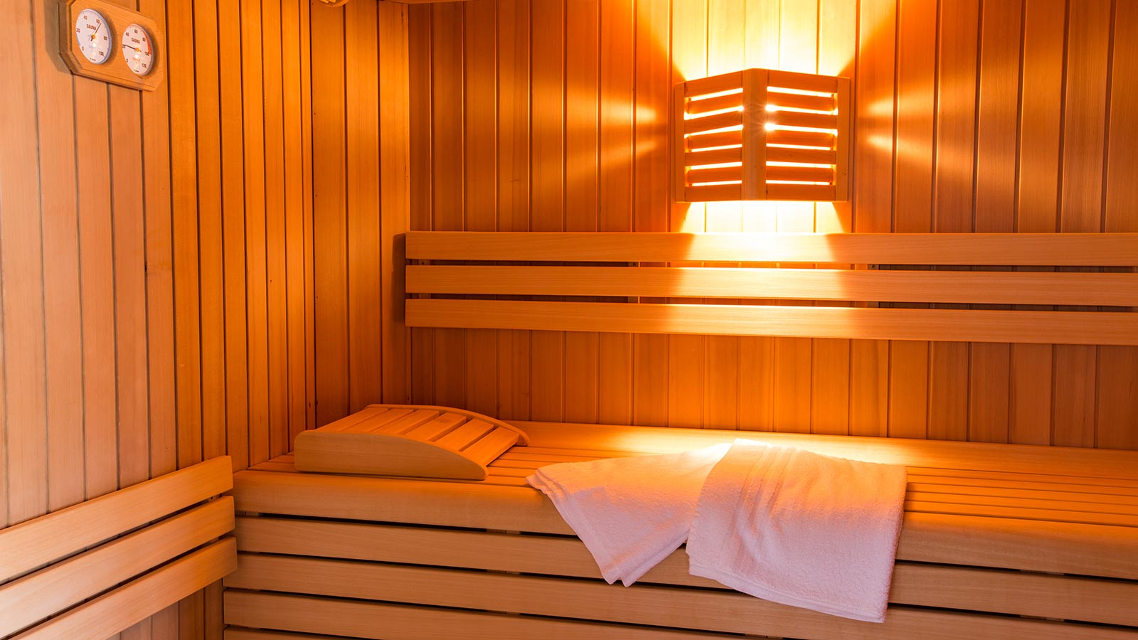 View of the Finnish sauna at the wellness area at Residence