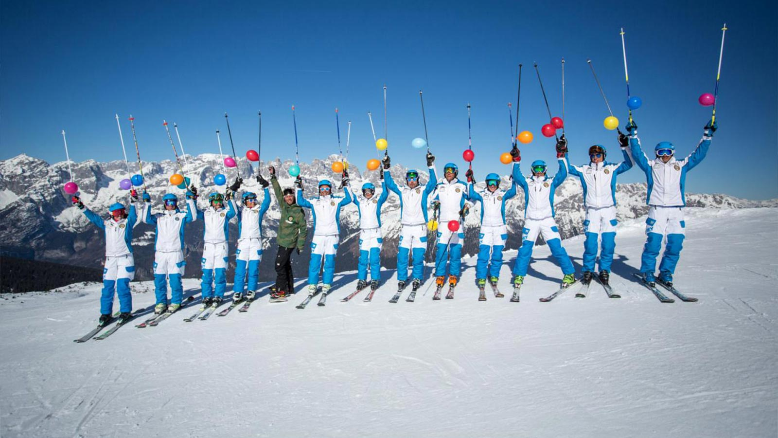 A group of skiers in Andalo in Trentino near Residence Antares